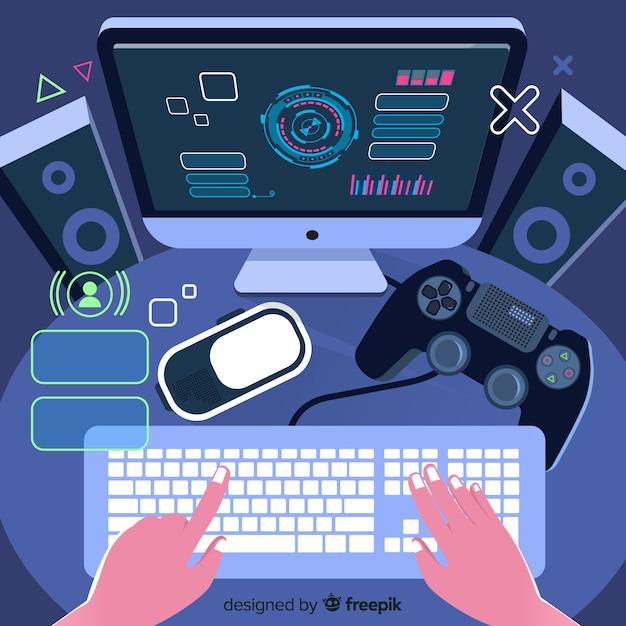 Contexte Futuriste D'un Joueur De L'ordinateur Vecteur Premium