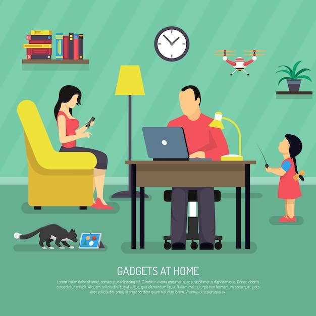 Contexte des gadgets numériques domestiques Vecteur gratuit