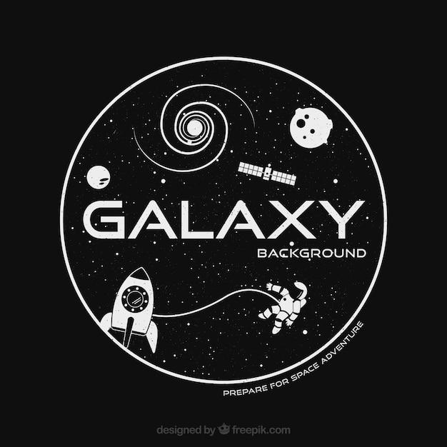 Contexte galaxy et astronautes Vecteur gratuit