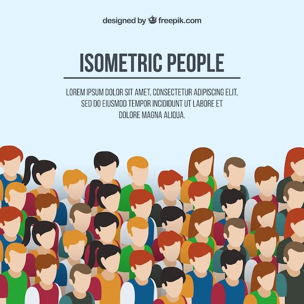 Contexte Des Gens En Style Isométrique Vecteur gratuit