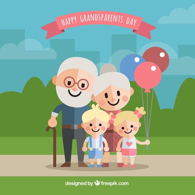 Contexte des grands-parents heureux avec leurs petits-enfants Vecteur gratuit