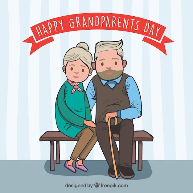 Contexte de grands parents mignons assis sur un banc Vecteur gratuit