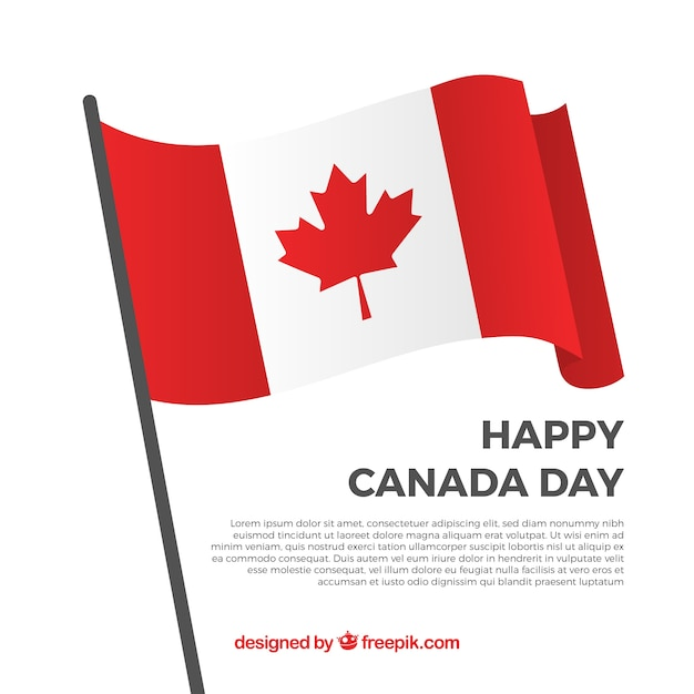Contexte de happy canada avec drapeau décoratif Vecteur gratuit