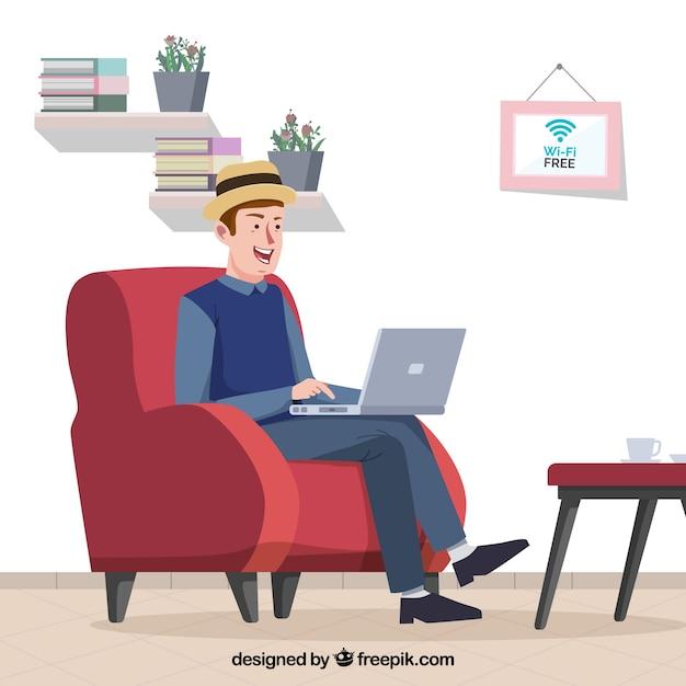 Contexte de l'homme travaillant confortable avec un ordinateur portable Vecteur gratuit
