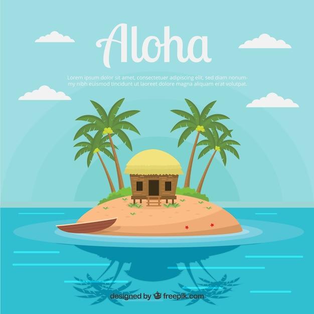 Contexte de l'île hawaïenne avec des palmiers Vecteur gratuit