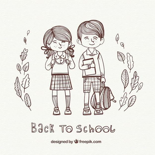 Contexte d'illustration des garçons allant à l'école Vecteur gratuit