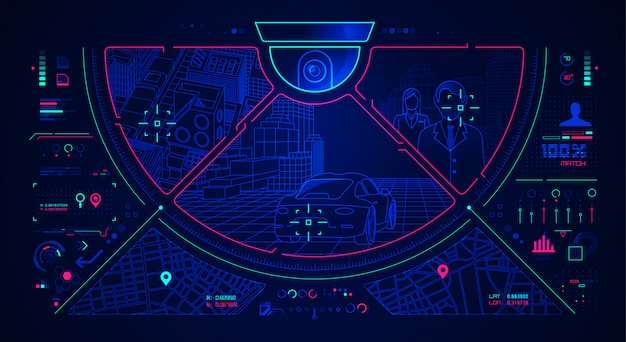 Contexte De L'interface De Vidéosurveillance Vecteur Premium