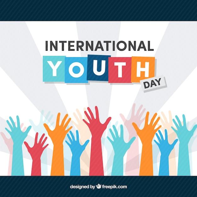 Contexte International De La Jeunesse Avec Des Mains Colorées Vecteur gratuit
