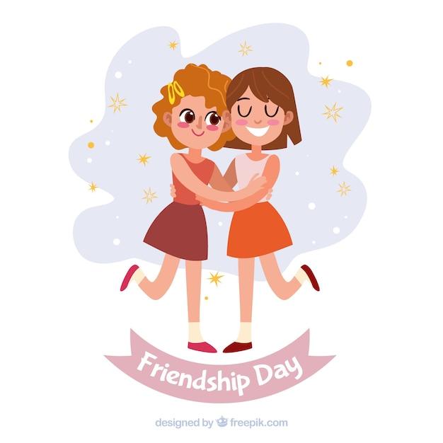 Contexte de la journée de l'amitié avec des gens heureux Vecteur gratuit