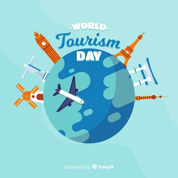 Contexte de la journée du tourisme design plat Vecteur gratuit