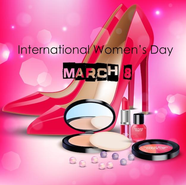 Contexte de la journée de la femme heureuse avec des chaussures de dames et des cosmétiques Vecteur Premium