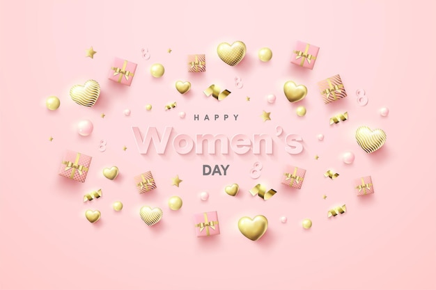 Contexte De La Journée Des Femmes Avec Des Coffrets Cadeaux Et Des Ballons D'amour éparpillés. Vecteur Premium