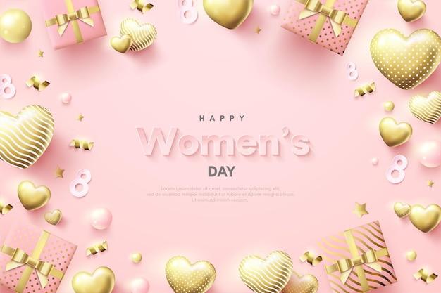 Contexte De La Journée Des Femmes En Or De Luxe. Vecteur Premium