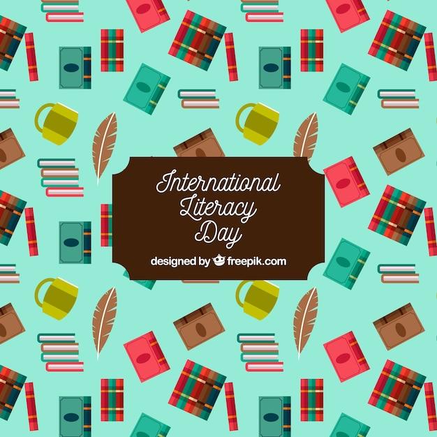 Contexte de la journée internationale de l'alphabétisation avec des éléments en conception plate Vecteur gratuit