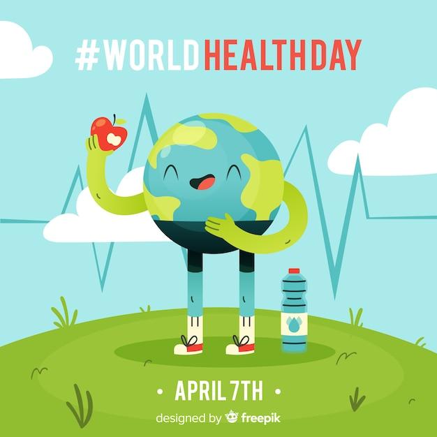 Contexte de la journée internationale de la santé Vecteur gratuit