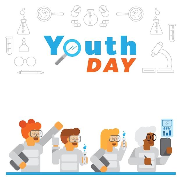 Contexte De La Journée Des Jeunes Avec Une Expérience Scientifique En Laboratoire Vecteur Premium