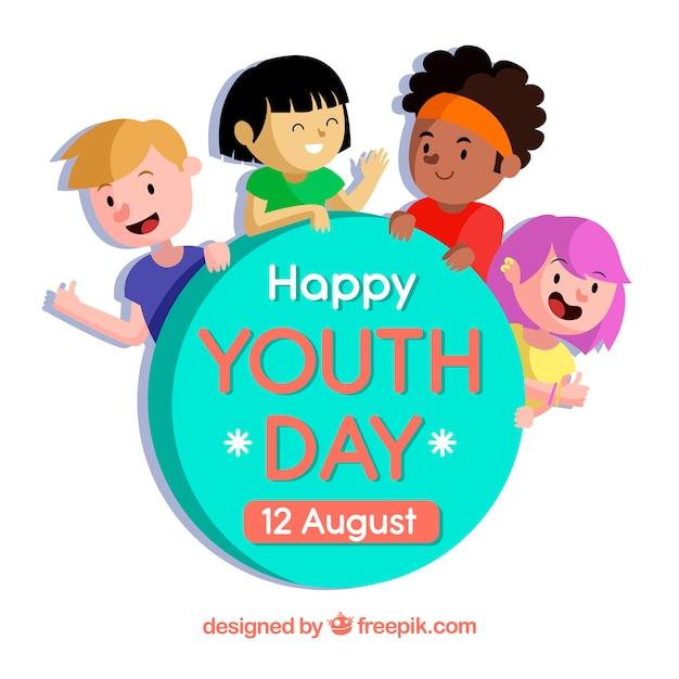 Contexte de la journée de la jeunesse avec de beaux enfants Vecteur gratuit