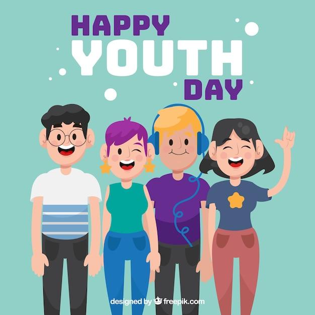 Contexte de la journée jeunesse Vecteur gratuit