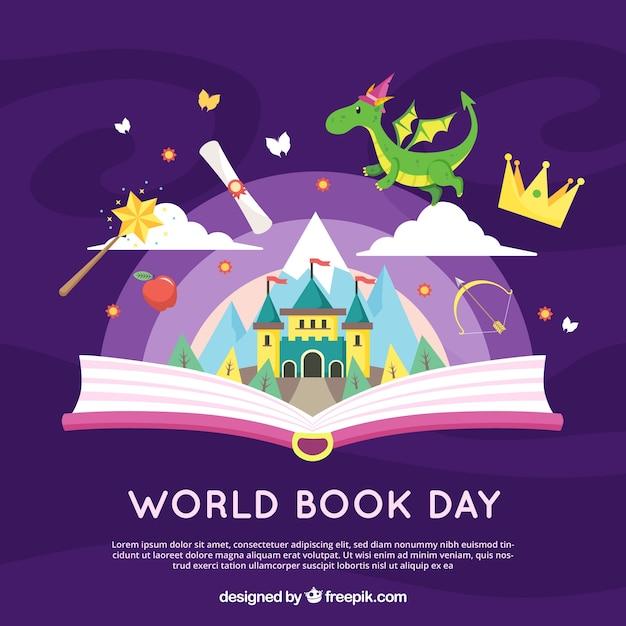 Contexte de la journée mondiale du livre Vecteur gratuit