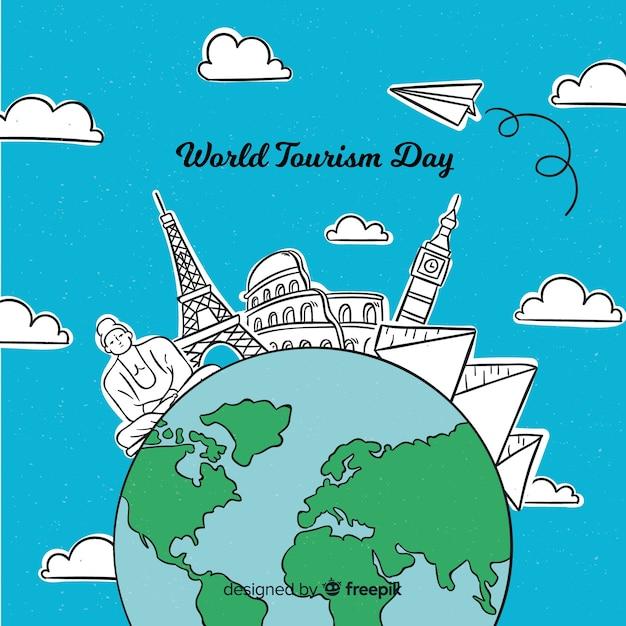 Contexte de la journée mondiale du tourisme Vecteur gratuit