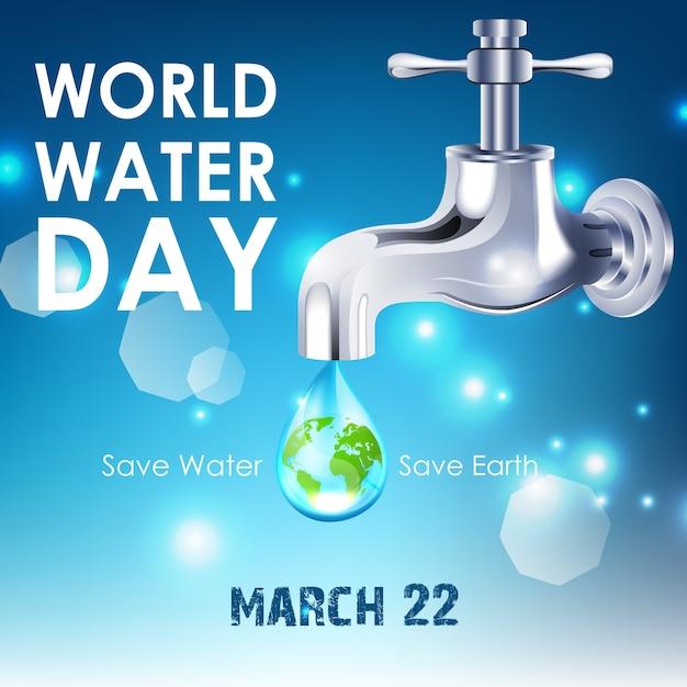 Contexte de la journée mondiale de l'eau Vecteur Premium