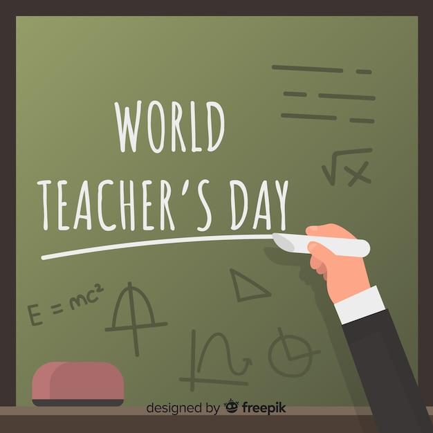 Contexte de la journée mondiale des enseignants Vecteur gratuit