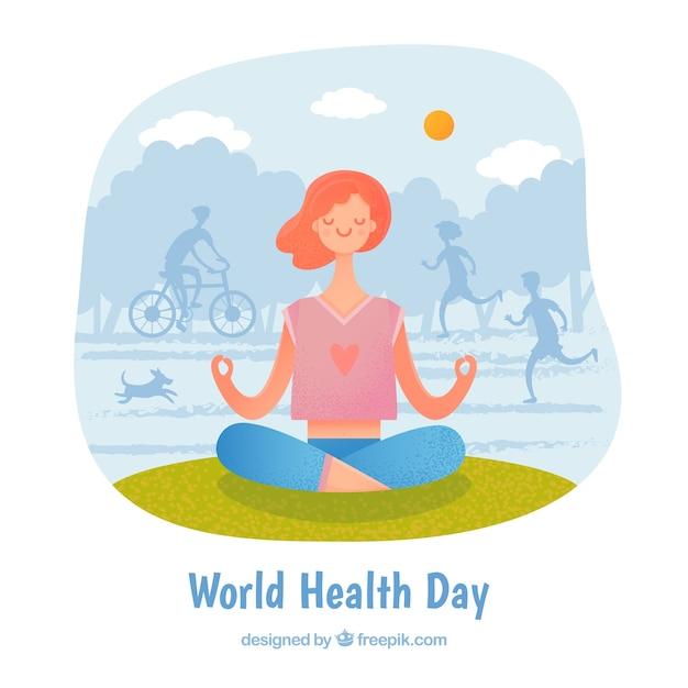 Contexte de la journée mondiale de la santé avec l'exercice de la personne Vecteur gratuit