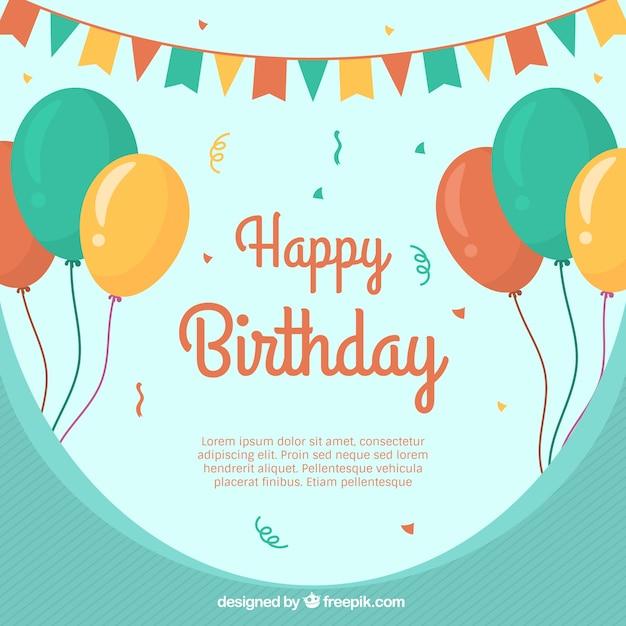 Contexte de joyeux anniversaire avec des ballons Vecteur gratuit