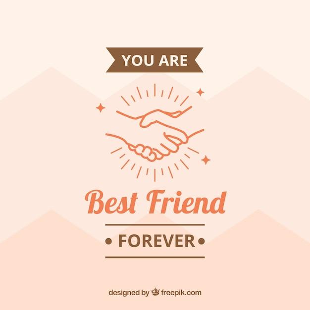 Contexte avec les mains et message d'amitié Vecteur gratuit
