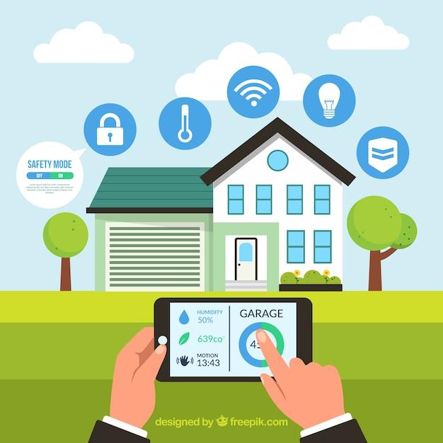 Contexte de maison intelligente avec contrôle de smartphone Vecteur gratuit