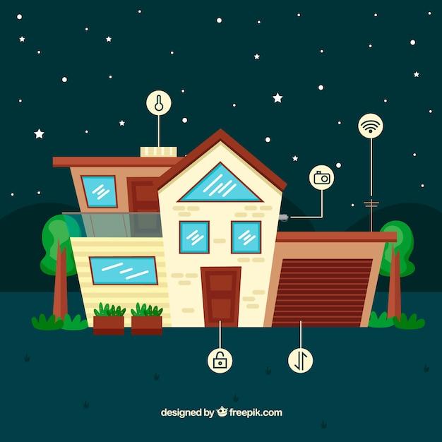 Contexte de maison intelligente avec des fonctions Vecteur gratuit