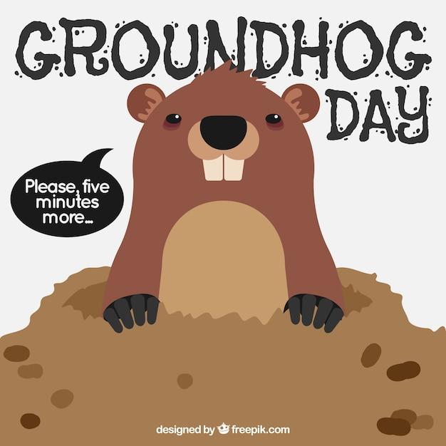 Contexte de la marmotte in den pour jour de la marmotte Vecteur gratuit
