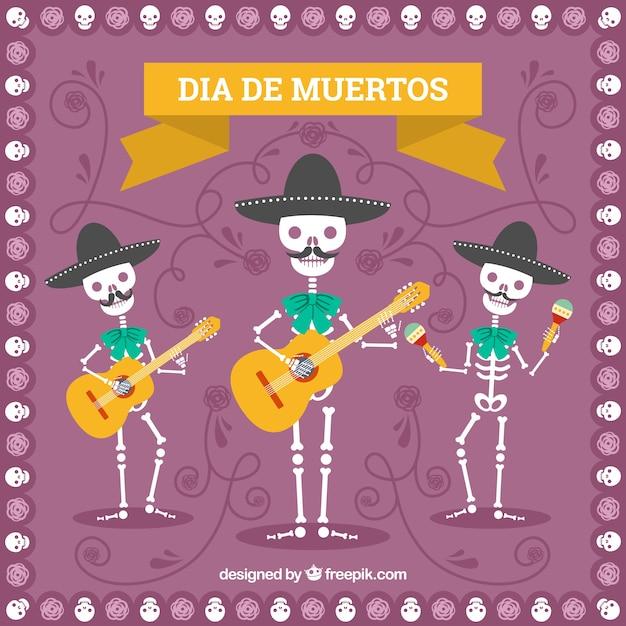 Contexte des morts avec des squelettes de mariachis Vecteur gratuit