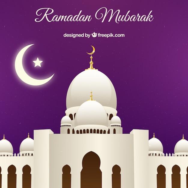 Contexte De La Mosquée Blanche De Ramadan Vecteur gratuit