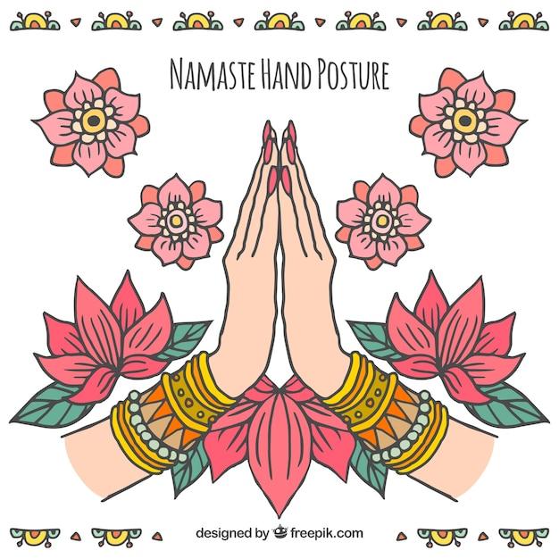Contexte De Namaste Avec Décoration Florale Dessinée à La Main Vecteur gratuit