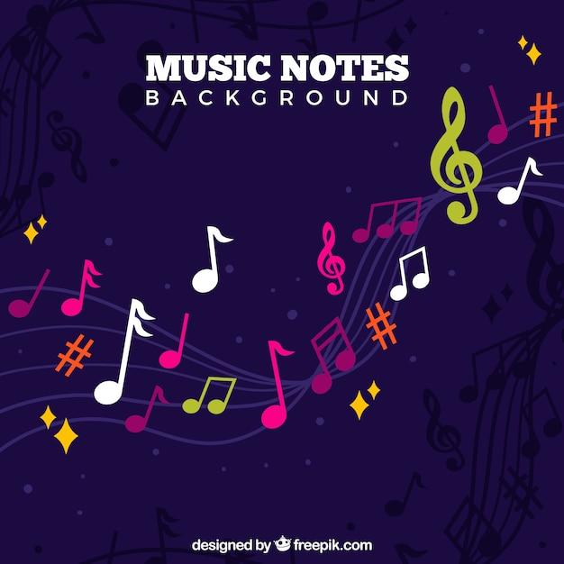Contexte De Notes Musicales Colorées Vecteur Premium