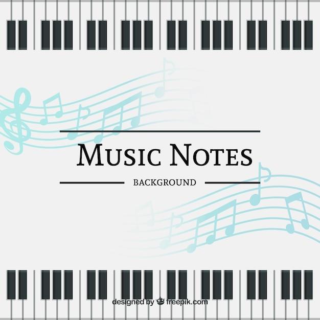 Contexte de notes de musique et de clavier de piano Vecteur gratuit