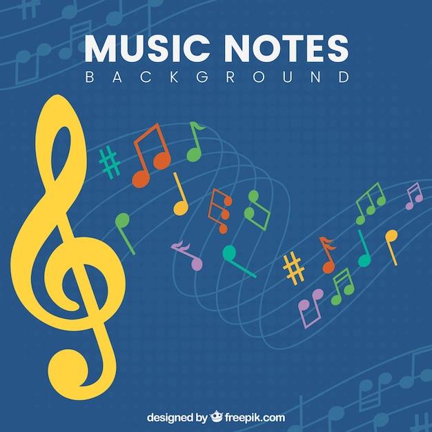 Contexte de notes de musique colorées et de touches de triple aiguille Vecteur gratuit