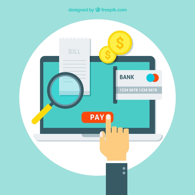 Contexte de paiement en ligne Vecteur gratuit