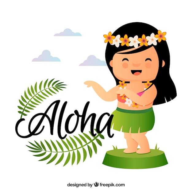 Contexte de poupée hawaïenne gracieuse Vecteur gratuit