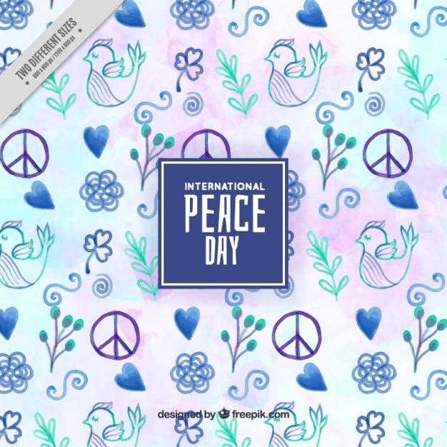Contexte pour le jour de la paix peinte à l'aquarelle avec des tons bleus Vecteur gratuit