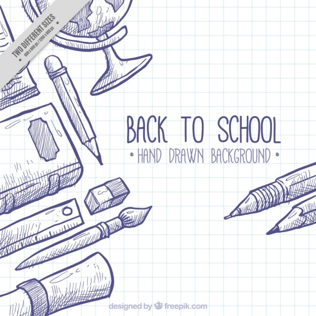 Contexte pour retourner à l'école avec des éléments dessinés à la main Vecteur gratuit