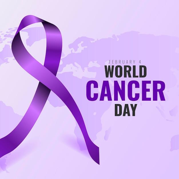 Contexte Réaliste De La Journée Mondiale Du Cancer Avec Ruban Vecteur gratuit