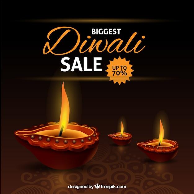 Contexte de réduction de diwali Vecteur gratuit