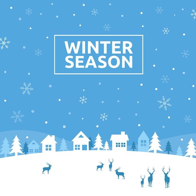 Contexte de la saison d'hiver Vecteur Premium