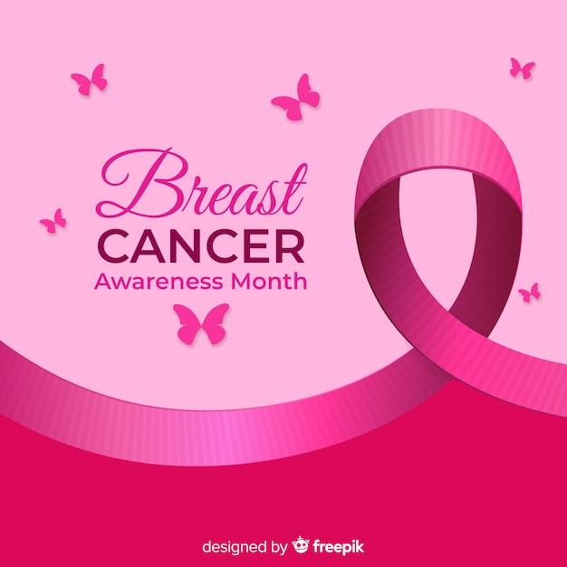 Contexte de sensibilisation au cancer du sein papillon Vecteur gratuit