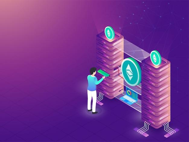 Contexte de stockage de données. Vecteur Premium