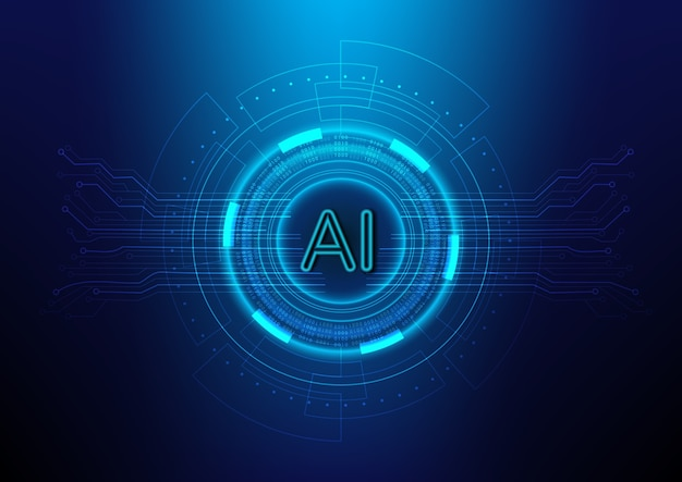 Contexte de la technologie numérique abstraite avec ai (intelligence artificielle) Vecteur Premium