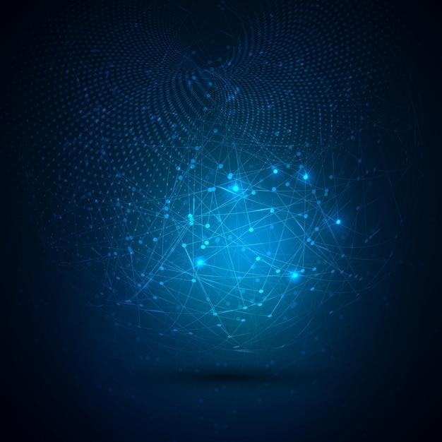 Contexte technologique global abstrait avec des points de connexion Vecteur gratuit