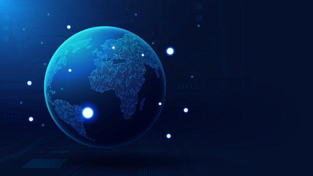Contexte technologique mondial Vecteur Premium